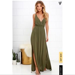 Lulu's Olive Green Maxi Dress! Size Large!